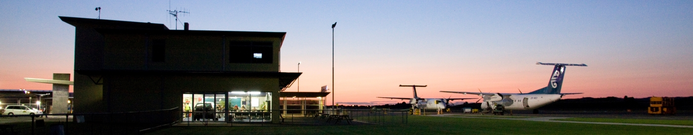 Tauranga Airport terminal in the evening