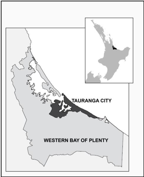 Boundary map of Tauranga City and Western Bay of Plenty