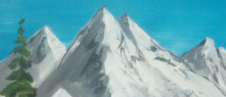 Paint and Wine Night-Bob Ross Snowy Mountain-Paintvine